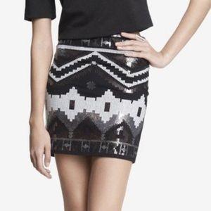 Express Sequin Geometric Mini Skirt XS